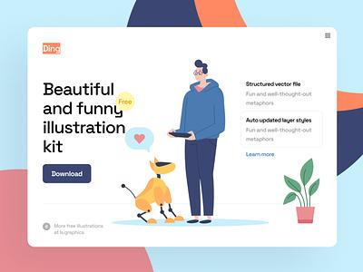Ding! Illustration Kit download vector typography design landing page landing ui illustration