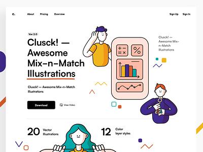Clusck 2.0 ui design mock-up download illustration