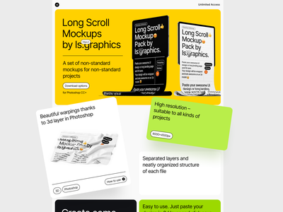 Long Scroll Mockups ui landing landing page design download psd mockup