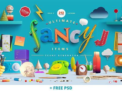 Fancy Items Scene Generator fancy free scene generator free psd mockup render 3d header image freebie hero
