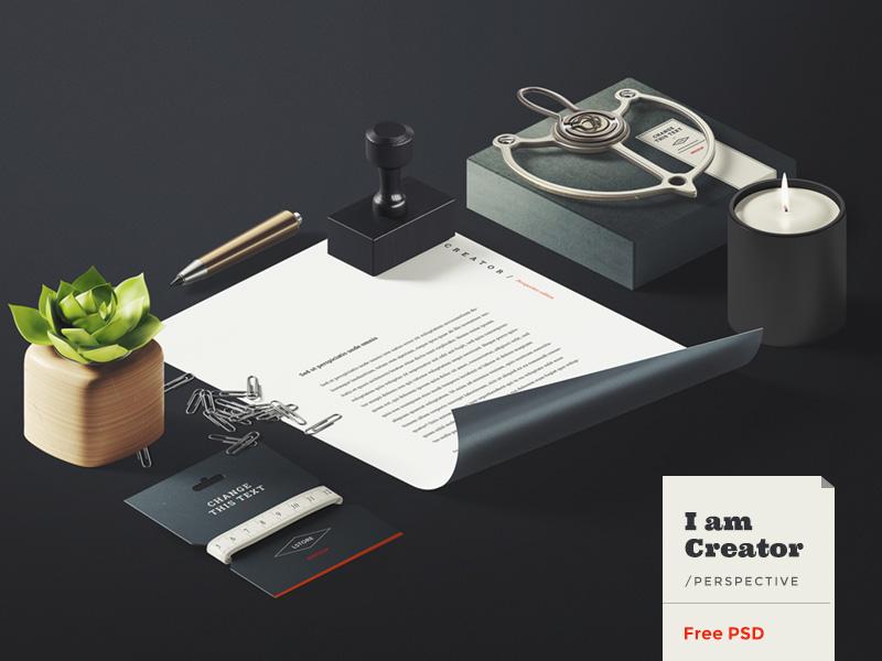 I am Creator / Perspective [Free] i am creator iso isometric mockup free freebie calligraphy lettering header hero