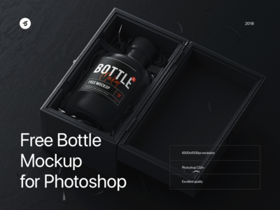 Free Bottle Mockup branding logo mockup bottle download psd photoshop mockup freebie free