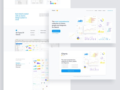 Landing Page for Charts vector design dashboard diagram charts chart ui sketch download free freebie