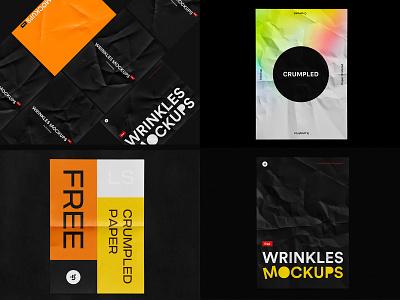 Free Crumpled Mockup wrinkled wrinkles crumpled crumple crumpled. freebie psd free mock-up download mockup
