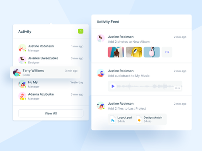 🏃🏼‍♂️Activity Feed feed activity ui dashboard ui button text editor banner popup ui kit design system price options notification notification center notifications