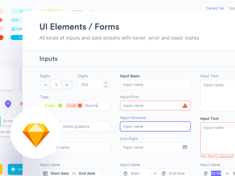 🔖 Elements sketch card popup bubble ui kit uikits uikit download ux design ux ui design system inputs forms form button tag checkbox radio button
