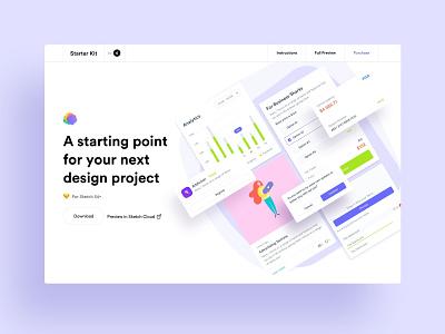 Webpage for Design Starter Kit landing sketch design system ui kit elements atomic