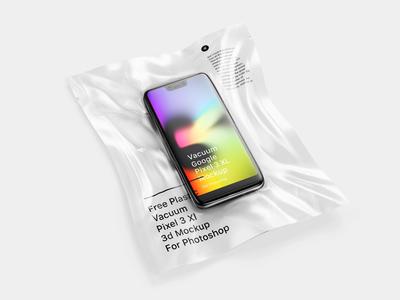 Free Vacuum Plastic Pixel 3 XL Mockup