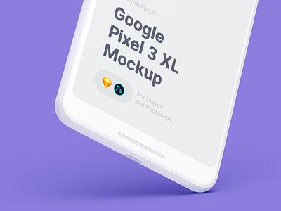 Google Pixel 3 XL Mockup mobile sketch psd mock-up ui design freebie mockup download free pixel 3 xl google pixel 3 xl mockup