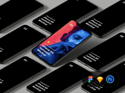 Free iPhone XR Isometric Mockup scene creator scene generator diy mockup figma sketch mock-up free freebie download psd mockup