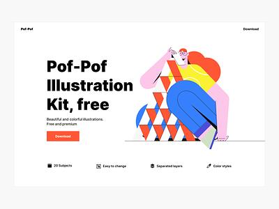 Pof-Pof! Free illustration kit sketch vector illustration