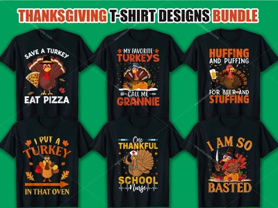 Thanksgiving T Shirt Design Bundle. merch by amazon design typography ui branding logo