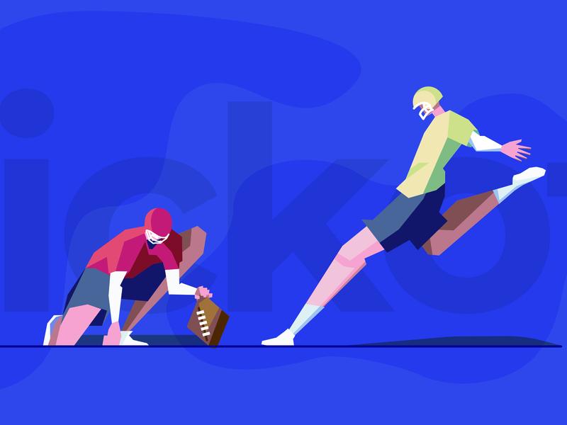 The Kickoff editorial minimal bold hold kick athlete football teamwork team building consulting character illustration