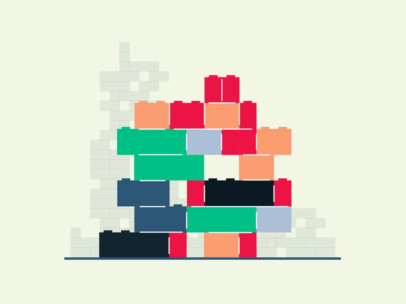 Lego Bricks flat illustration illustration childhood toys build legos minimal