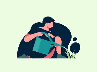 Mentor UI Spot Illustration flat characters women in tech women women in illustration growth character grow plant watering onboarding spot illustration