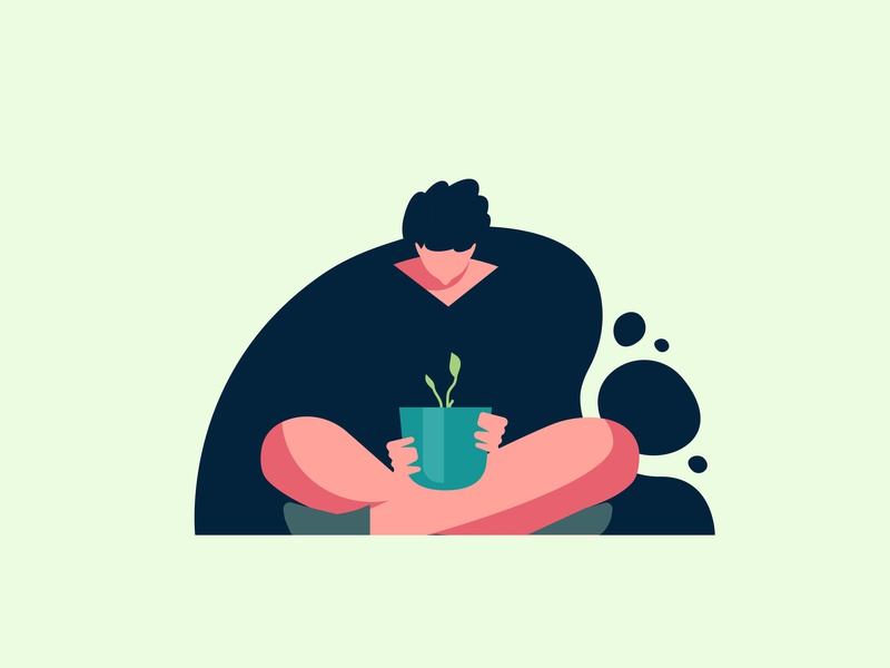 Learning to Grow UI Spot Illustration seed flat onboarding ui illustrations illustrations people watch watching growth grow sitting characters character