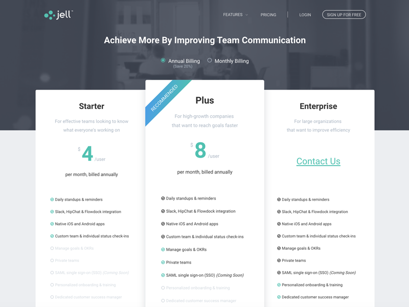 Jell s pricing page