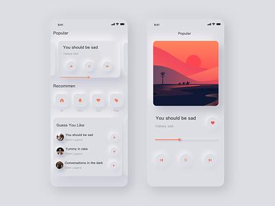 music soft ui app sketch ui