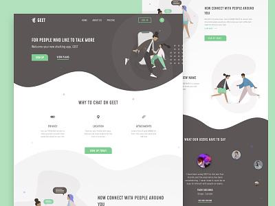 Chatting App Landing Page product design product illustration typography ux uitrends inspiration desktop designer ui web design