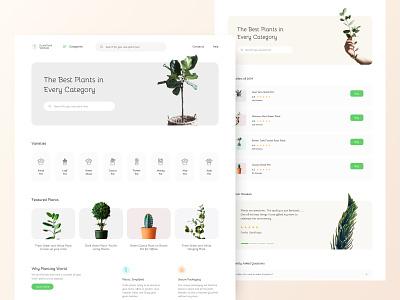 Plants landing page typography branding vector illustration uitrends inspiration desktop ui designer web design