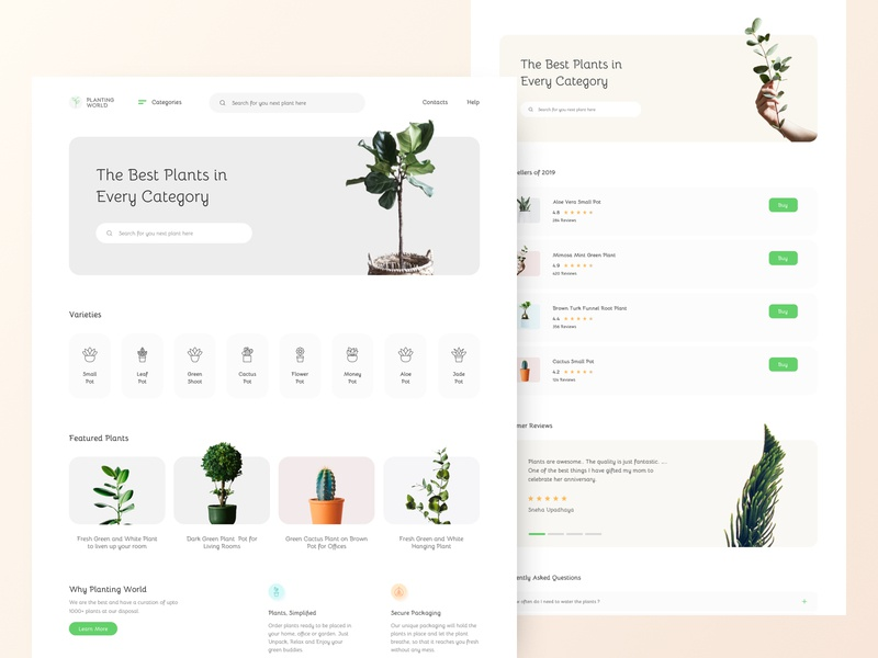 Plants landing page