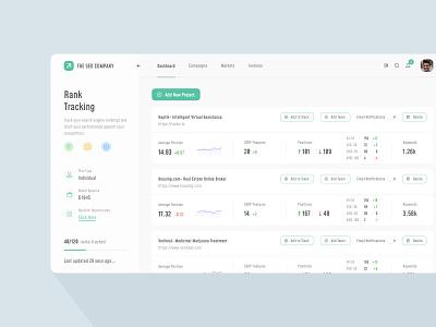 SEO Rank Tracking Dashboard userinterface webdesign saas design interface dribbble best shot icon ux uitrends inspiration desktop designer ui web design