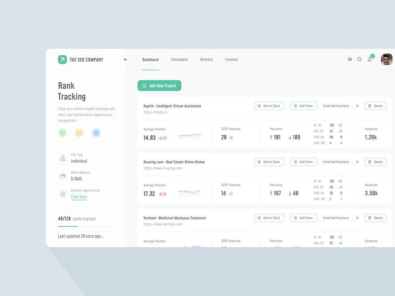 SEO Rank Tracking Dashboard