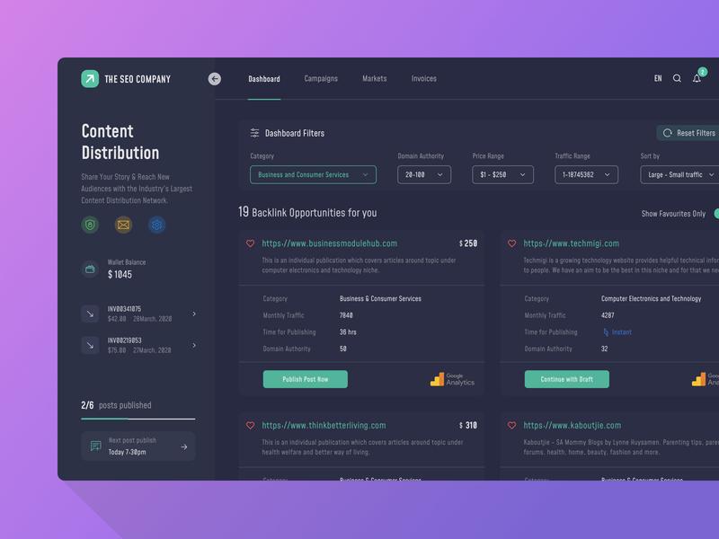 Content Distribution Dashboard UI