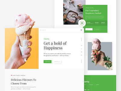 Ice Cream Shop Landing Page dailyui typography photoshop branding uitrends inspiration desktop designer ui web design