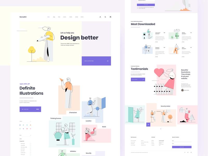 Illustration Set Concept Landing Page website vector illustration typography ux ui uitrends inspiration desktop designer web design