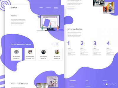 Questale About Us Page illustration design inspiration blue designer uitrends
