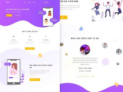 Geet Landing Page ux typography vector inspiration illustration gradient desktop ui web designer design