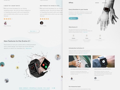A Landing Page for a Smart Watch ux icon vector typography desktop photograhy uitrends ui web designer design