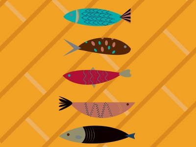 midcentury abstract fish midcentury poster abstract fish design vector