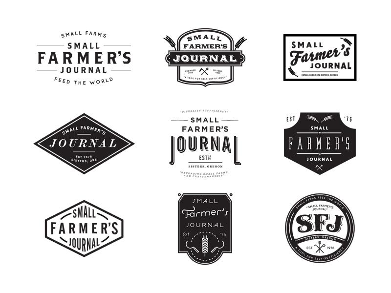 Small Farmer's Journal farm farms farming journal badge badges branding identity old timey logo exploration oregon periodical vernacular wheat hoe axe pitchfork scythe john h ratajczak