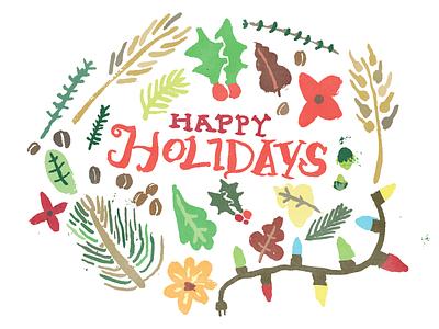 Holiday Card 2014 john h ratajczak illustration xmas wheat leaves happy holidays thyme hops