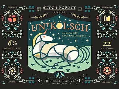 Unikolsch john h ratajczak unicorn label beer homebrew flowers branding magic shit