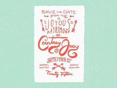 Save the Date, Arrows john h ratajczak wedding save the date arrows hand lettering texture stamp