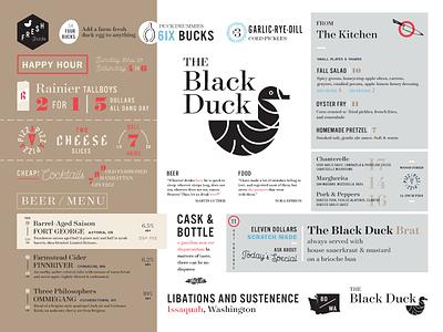 Black Duck Menu Study black duck restaurant pub menu identity branding