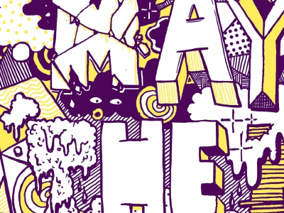 The Mind May Be The Most Creative Tool risograph pattern typography detail drawing