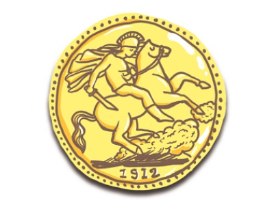 One of my Coin Illustrations old gold horse set illustration coin drawing soldier design