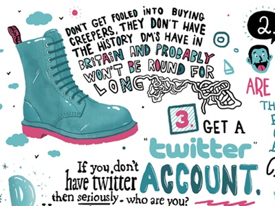 How To Be Cool - Fatbread Magazine #2 magazine illustration drawing design shoe typography handdrawn twitter clouds sky editorial article