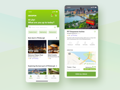 Groupon redesign - explore the best part of a city