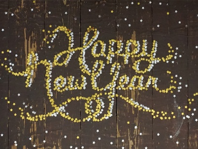 Happy New Year! type typography lettering handlettering confetti