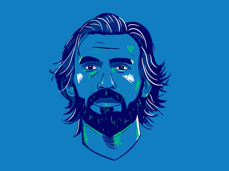 Pirlo graffiti streetart italy colour football illustration design pirlo