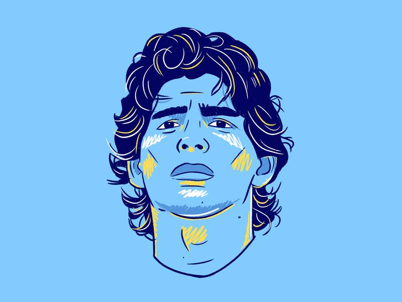 Maradona draw graffiti art colour football illustration italy napoli