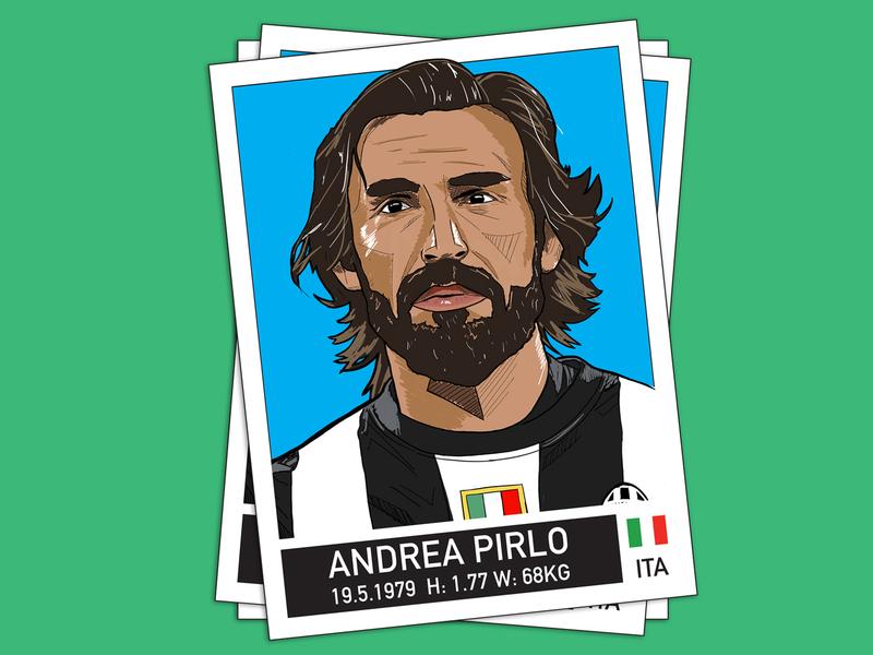 Pirlo italy nike sport design colour illustration football juventus pirlo