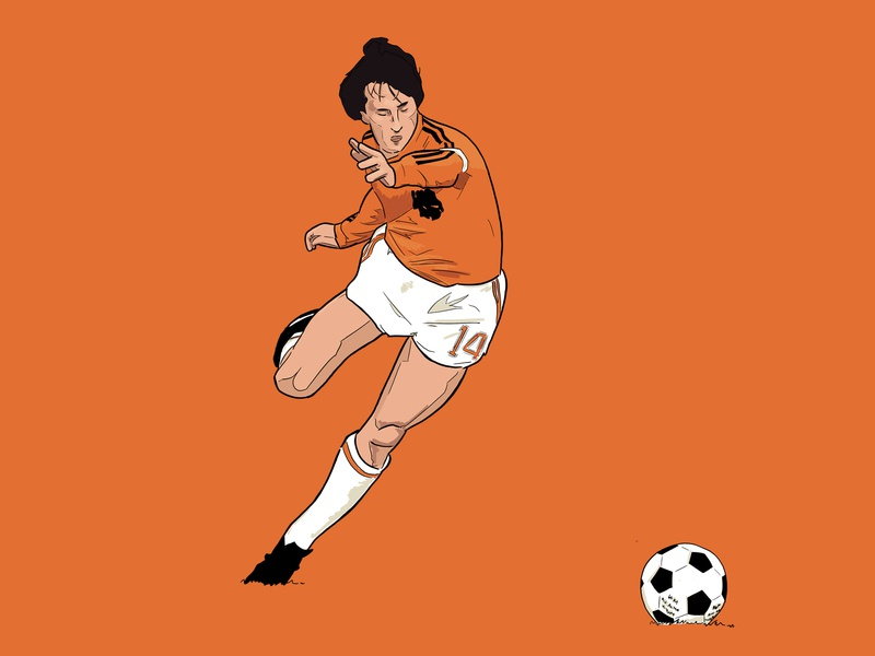 Cruyff 14 world cup adidas orange football illustration illustrator dutch holland cruyff