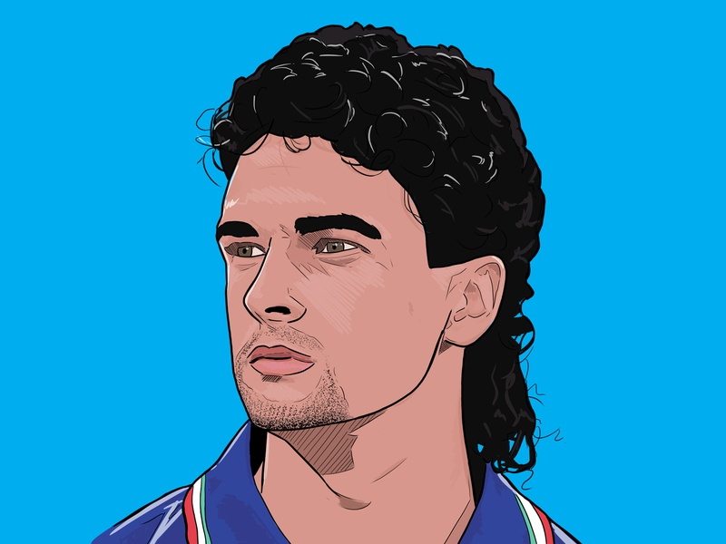 Baggio design sport colour football illustration italian world cup italy