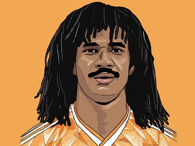 Gullit illustration sport football orange dutch football shirt adidas holland